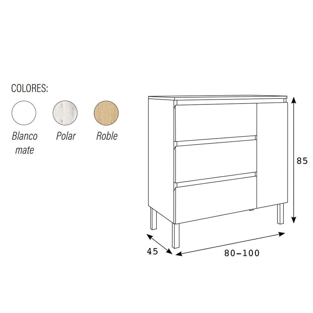 Dimensiones mueble bano con 3 cajones y con 1 puerta