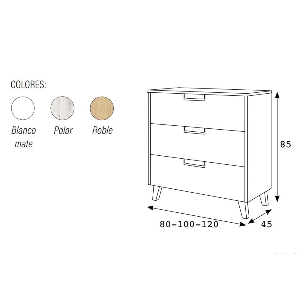 dimensiones mueble bano 3 cajones con tapa